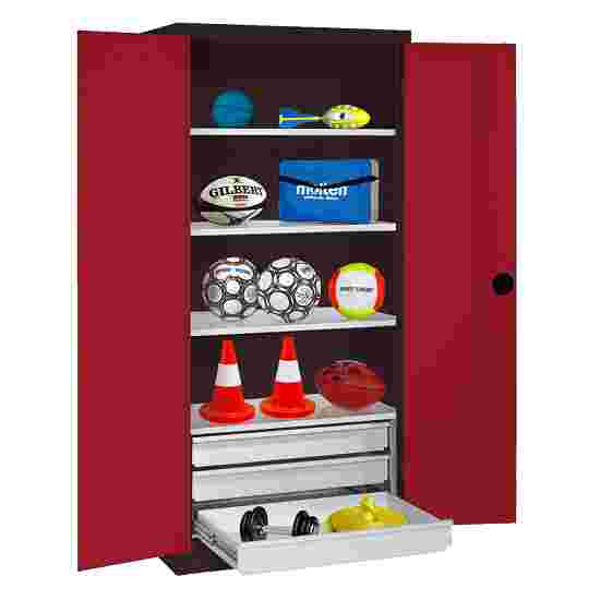 C+P Type 4 Sports Equipment Locker with Drawers and Sheet Metal Double Doors, H×W×D: 195×120×50 cm Ruby red (RAL 3003), Anthracite (RAL 7021)