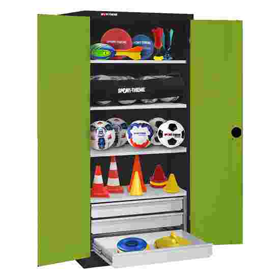 C+P Type 4 Sports Equipment Locker with Drawers and Sheet Metal Double Doors, H×W×D: 195×120×50 cm Viridian green (RDS 110 80 60), Anthracite (RAL 7021)