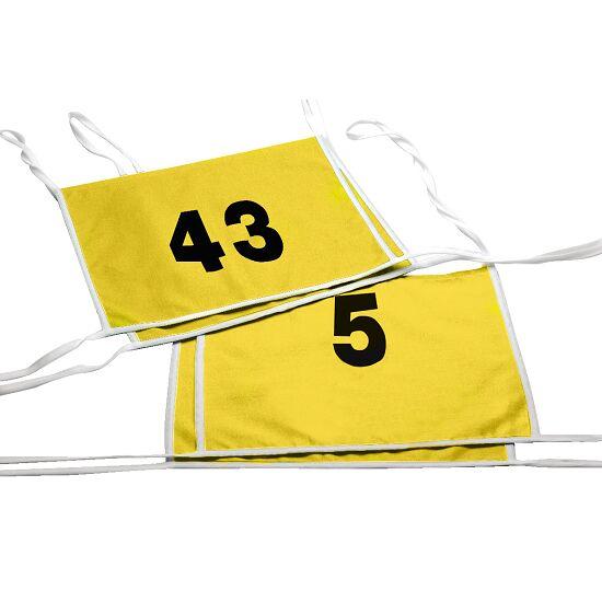 Doppel-Startnummern mit Paspelbändchen Zahlen 1- oder 2-stellig, Gelb