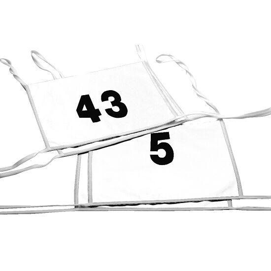 Doppel-Startnummern mit Paspolbändchen Zahlen 1- oder 2-stellig, Weiß