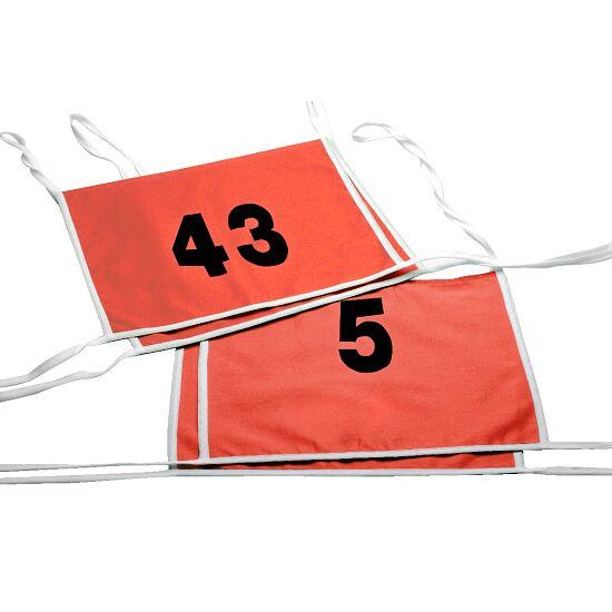 Doppel-Startnummern mit Paspolbändchen Zahlen 1- oder 2-stellig, Rot