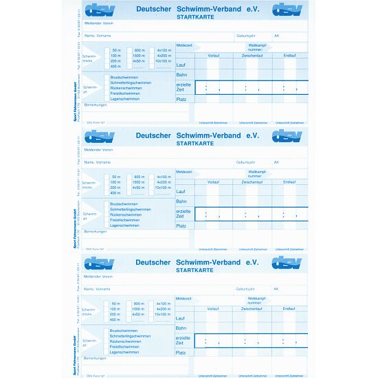 DSV Startkarten Einzelblatt