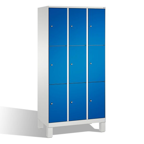 """Fächerschrank """"S 3000 Evolo"""" mit Füßen (3 Fächer übereinander) 185x90x50 cm/ 9 Fächer, Enzianblau (RAL 5010)"""