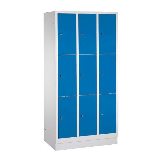 """Fächerschrank """"S 3000 Evolo"""" mit Sockel (3 Fächer übereinander) 180x90x50 cm/ 9 Fächer, Enzianblau (RAL 5010)"""