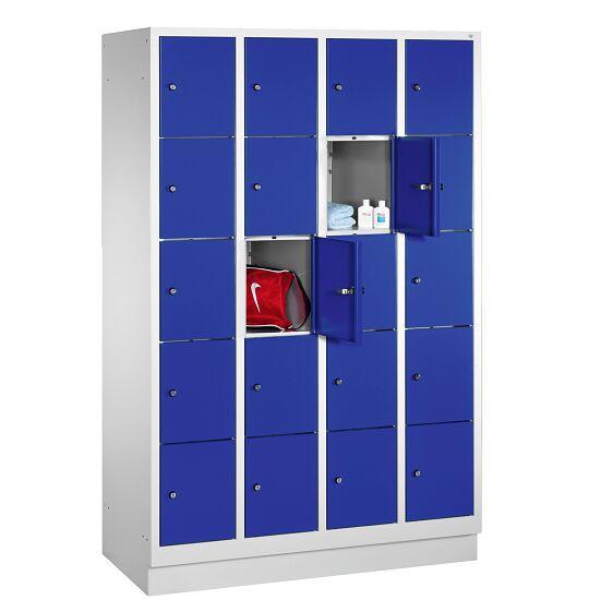 """Fächerschrank """"S 3000 Evolo"""" mit Sockel (5 Fächer übereinander) 180x119x50 cm/ 20 Fächer, Enzianblau (RAL 5010)"""