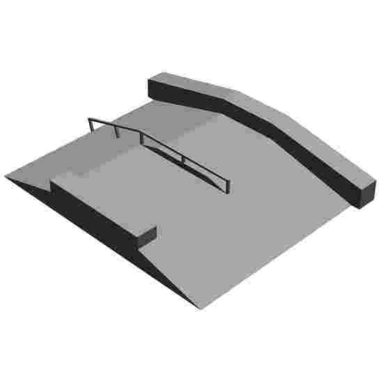 Float Bank mit schräger Ledge, Rail und Curb