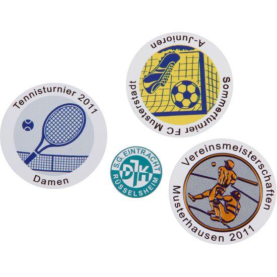 Folienemblem mit Text oder Logo für Medaillen Set mit 25 Aufklebern, ø 25 mm