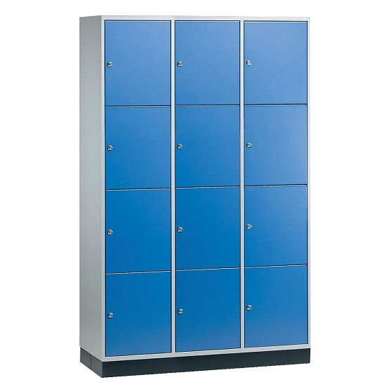 """Großraum-Schließfachschrank """"S 4000 Intro"""" (4 Fächer übereinander) 195x122x49 cm/ 12 Fächer, Enzianblau (RAL 5010)"""