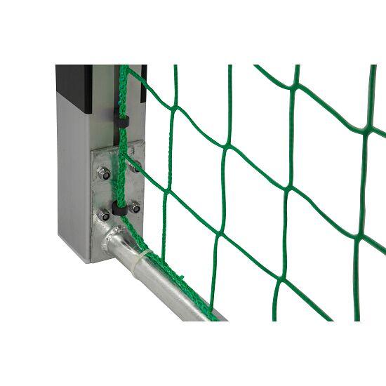 Hallenhandballtor 3x2 m, in Bodenhülsen stehend Verschraubte Eckverbindungen, Schwarz-Silber