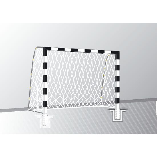 Handball goal 3x2 m, standing in ground sockets. With fixed net brackets.  Bolted corner joints, Black/silver