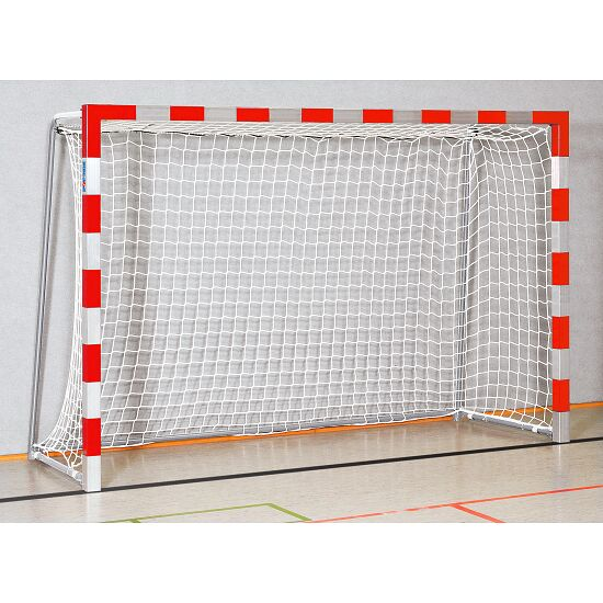 Handball goal 3x2 m, standing in ground sockets. With fixed net brackets.  Bolted corner joints, Red/silver