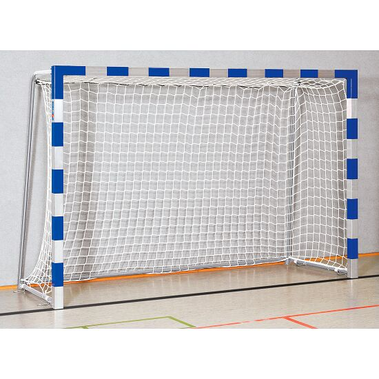 Handball goal 3x2 m, standing in ground sockets. With fixed net brackets.  Bolted corner joints, Blue/silver