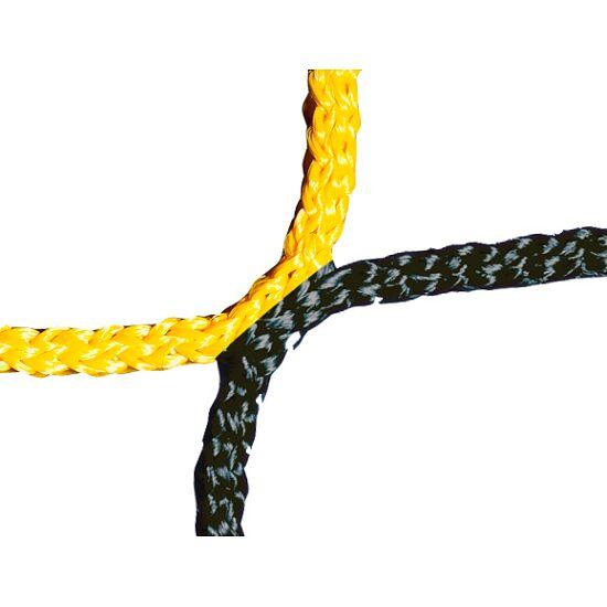 Knudeløst net til 11-mands fodboldmål 750x250 cm. Sort-gul