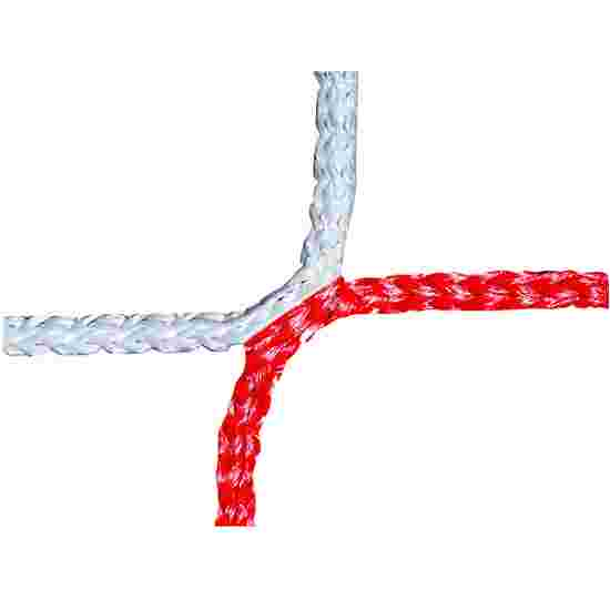 Knudeløst net til 11-mands fodboldmål 750x250 cm. Rød-hvid