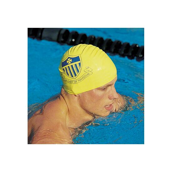 Latex Printed Swimming Cap White, One-sided