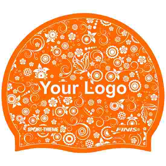 Latex Printed Swimming Cap Orange, One-sided