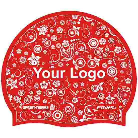 Latex Printed Swimming Cap Red, One-sided