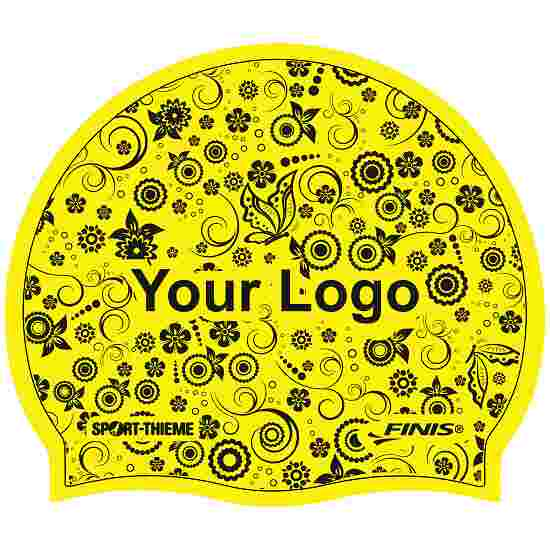 Latex Printed Swimming Cap Yellow, Double-sided