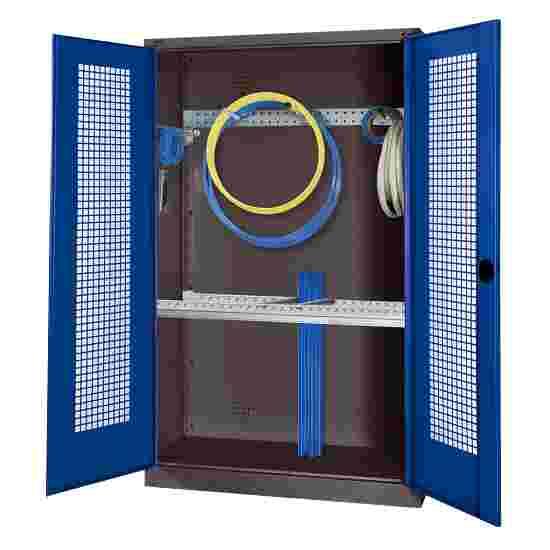 Modul Redskabsskab med basisudstyr, HxBxD 195x120x50 cm, med hullede stållåger Ensianblå (RAL 5010), Antracit (RAL 7021)