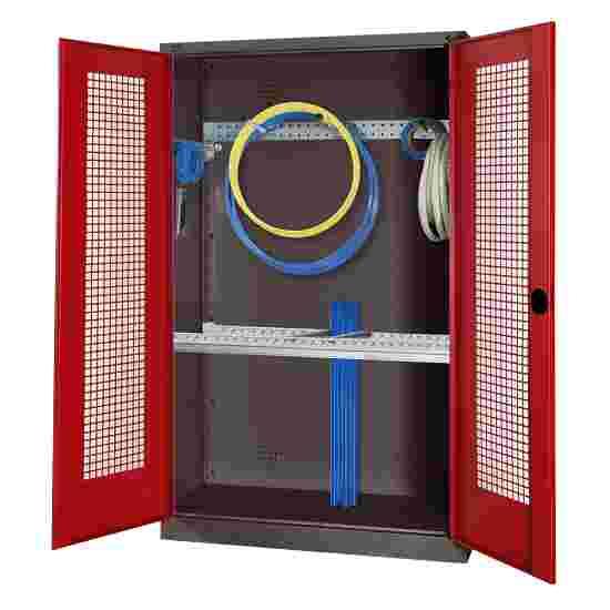 Modul Redskabsskab med basisudstyr, HxBxD 195x120x50 cm, med hullede stållåger Rubinrød (RAL 3003), Antracit (RAL 7021)