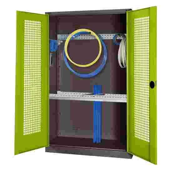 Modul Redskabsskab med basisudstyr, HxBxD 195x120x50 cm, med hullede stållåger Grøn (RDS 110 80 60), Antracit (RAL 7021)