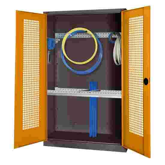 Modul Redskabsskab med basisudstyr, HxBxD 195x120x50 cm, med hullede stållåger Gulorange (RAL 2000), Antracit (RAL 7021)