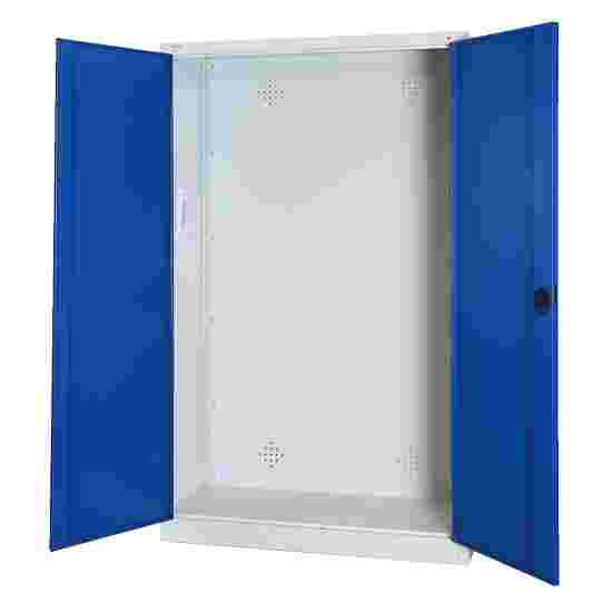 Modular Sports Equipment Cabinet, HxWxD 195x120x50 cm, with Sheet Metal Double Doors Gentian blue (RAL 5010), Light grey (RAL 7035)