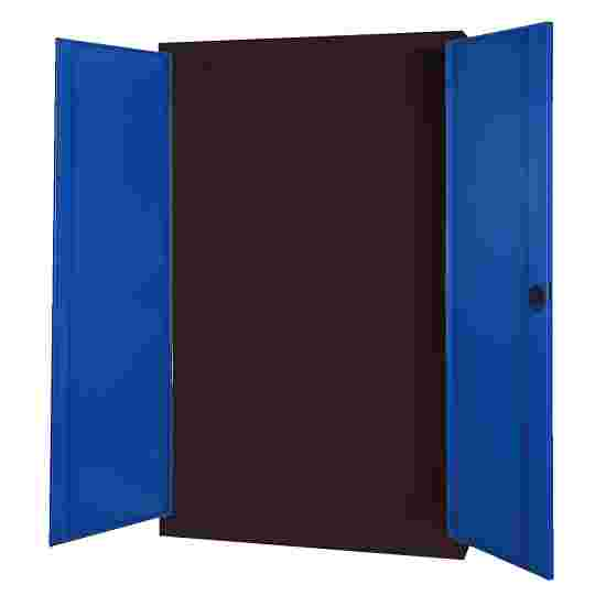 Modular Sports Equipment Cabinet, HxWxD 195x120x50 cm, with Sheet Metal Double Doors Gentian blue (RAL 5010), Anthracite (RAL 7021)