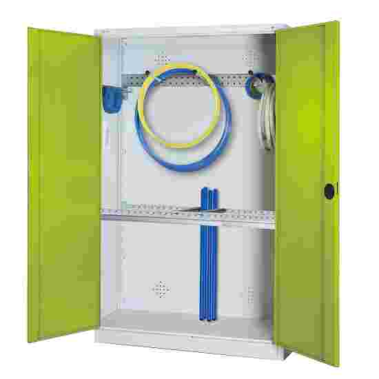 Modular Sports Equipment Cabinet with Basic Fittings, HxWxD 195x120x50 cm, with Sheet Metal Double Doors Viridian green (RDS 110 80 60), Light grey (RAL 7035)