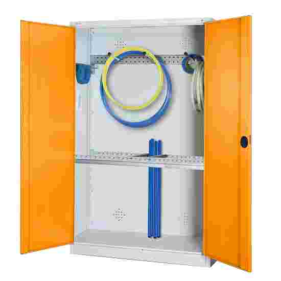 Modular Sports Equipment Cabinet with Basic Fittings, HxWxD 195x120x50 cm, with Sheet Metal Double Doors Yellow orange (RAL 2000), Light grey (RAL 7035)