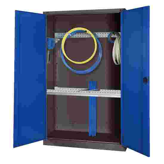 Modular Sports Equipment Cabinet with Basic Fittings, HxWxD 195x120x50 cm, with Sheet Metal Double Doors Gentian blue (RAL 5010), Anthracite (RAL 7021)