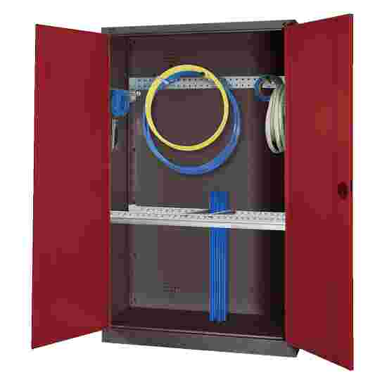 Modular Sports Equipment Cabinet with Basic Fittings, HxWxD 195x120x50 cm, with Sheet Metal Double Doors Ruby red (RAL 3003), Anthracite (RAL 7021)