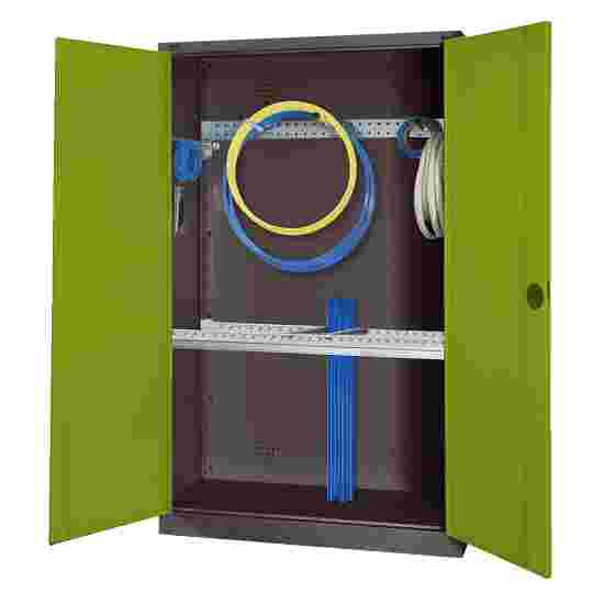 Modular Sports Equipment Cabinet with Basic Fittings, HxWxD 195x120x50 cm, with Sheet Metal Double Doors Viridian green (RDS 110 80 60), Anthracite (RAL 7021)