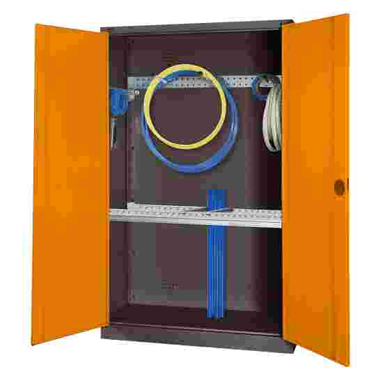 Modular Sports Equipment Cabinet with Basic Fittings, HxWxD 195x120x50 cm, with Sheet Metal Double Doors Yellow orange (RAL 2000), Anthracite (RAL 7021)