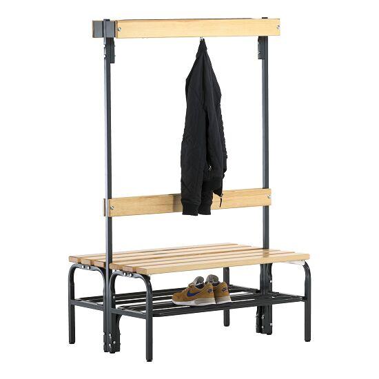 Omklædningsbænk til tørre rum med dobbeltsidet ryglæn 1,01 m, Med skotøjshylde