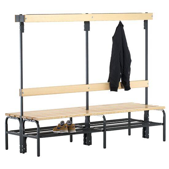 Omklædningsbænk til tørre rum med dobbeltsidet ryglæn 2,00 m, Med skotøjshylde