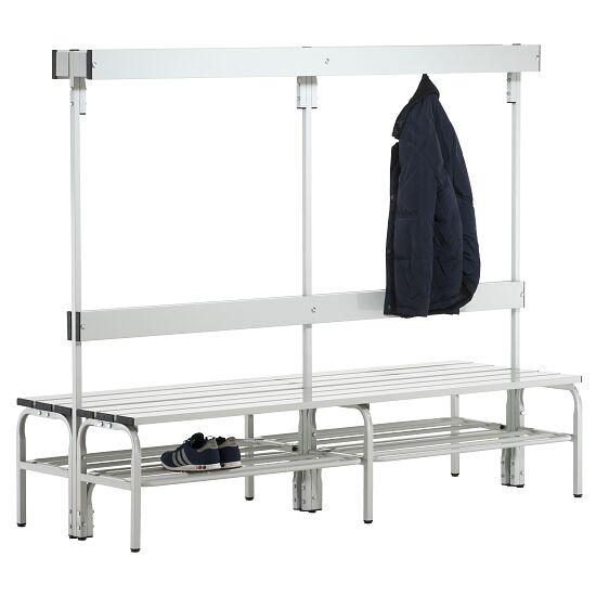 Omklædningsbænk til vådrum med dobbeltsidet ryglæn 2,00 m, Med skotøjshylde