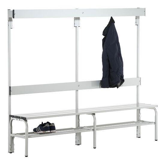 Omklædningsbænk til vådrum med ryglæn 2,00 m, Med skotøjshylde