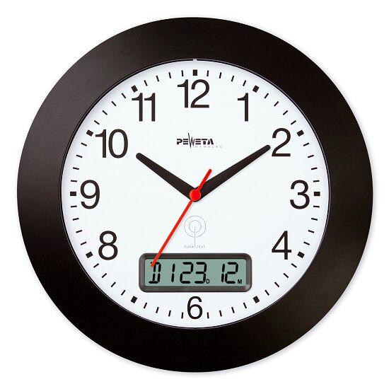 Peweta® Funkwanduhr mit Datumanzeige Schwarz