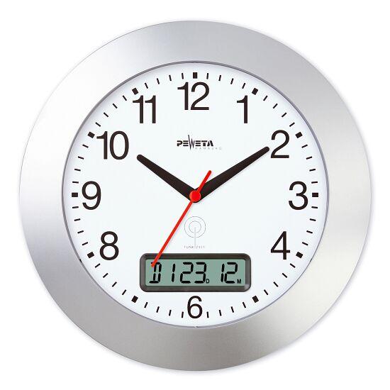 Peweta® Funkwanduhr mit Datumanzeige Mattsilber