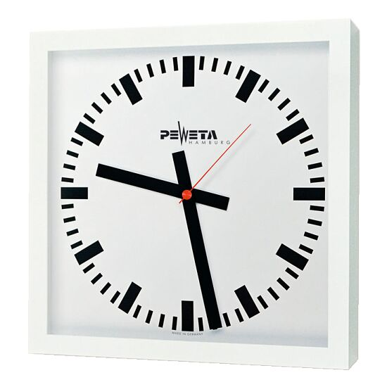 Peweta Großraum-Wanduhr 40x40 cm, Netzbetrieb 230 V Standard, Zifferblatt DIN-Balken