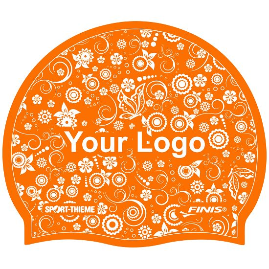 Printed Silicone Swimming Cap Orange, One-sided