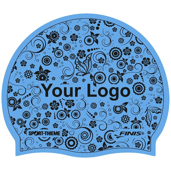 Printed Silicone Swimming Cap Blue, Double-sided