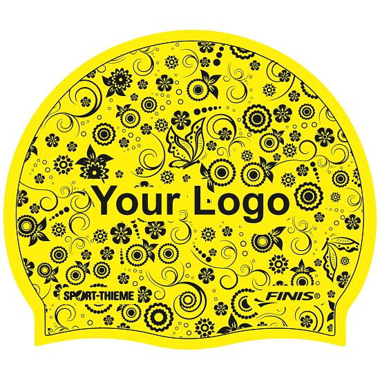 Printed Silicone Swimming Cap Yellow, Double-sided
