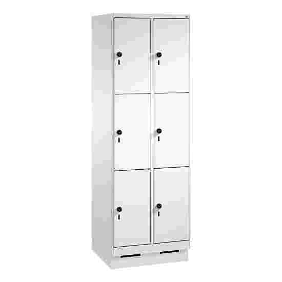 """""""S 3000 Evolo"""" Lockers with Base (3 Lockers Positioned Vertically) 180×60×50 cm / 6 compartments, Light grey (RAL 7035)"""