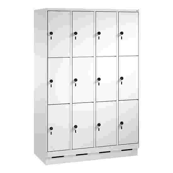 """""""S 3000 Evolo"""" Lockers with Base (3 Lockers Positioned Vertically) 180×120×50 cm / 12 compartments, Light grey (RAL 7035)"""