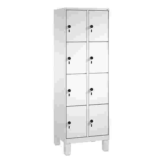 """S 3000 Evolo"" Lockers with Base Legs (4 Lockers Positioned Vertically) 185×60×50 cm / 8 compartments, Light grey (RAL 7035)"