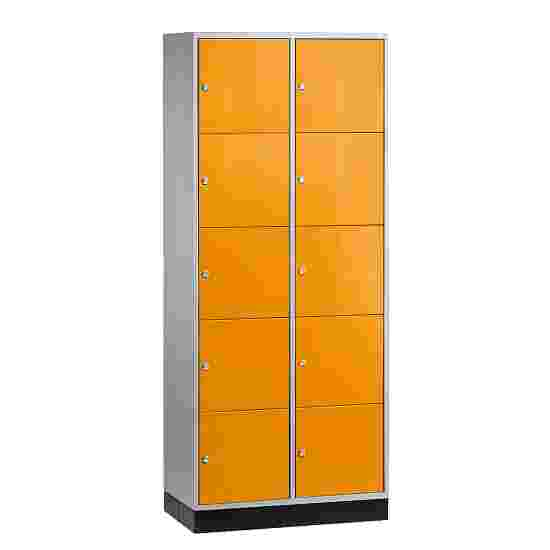 """""""S 4000 Intro"""" Compartment Locker (5 compartments on top of one another) 195x62x49cm/ 10 compartments, Yellow orange (RAL 2000)"""