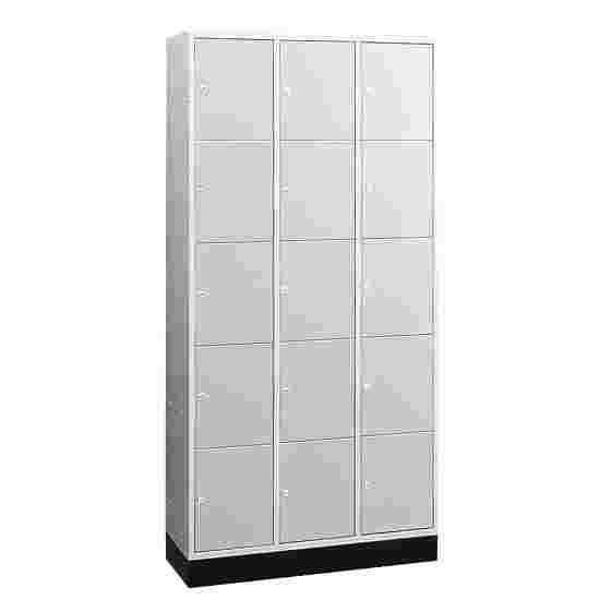 """""""S 4000 Intro"""" Compartment Locker (5 compartments on top of one another) 195x92x49cm/ 15 compartments, Light grey (RAL 7035)"""