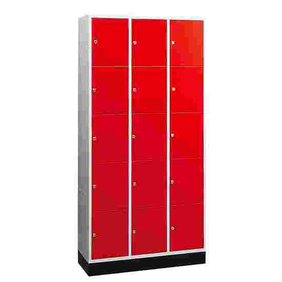 """""""S 4000 Intro"""" Compartment Locker (5 compartments on top of one another) 195x92x49cm/ 15 compartments, Fiery Red (RAL 3000)"""